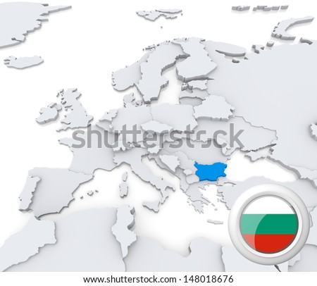 Highlighted Bulgaria on map of europe with national flag - stock photo