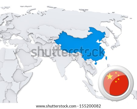 Highlighted China on map of Asia with national flag - stock photo