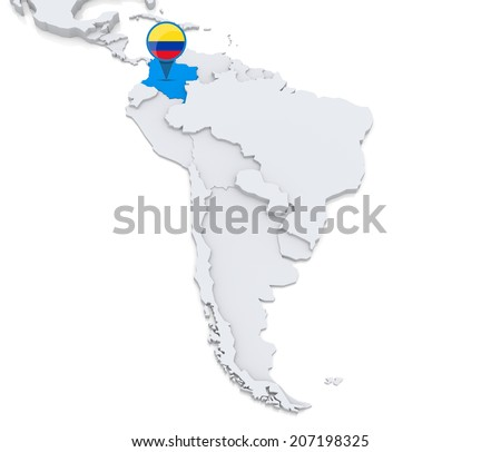 Highlighted Colombia On Map South America Stock Illustration - Colombia map south america