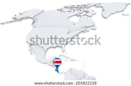 Highlighted costa rica on map north stock illustration 205822228 highlighted costa rica on map of north america with national flag gumiabroncs Images