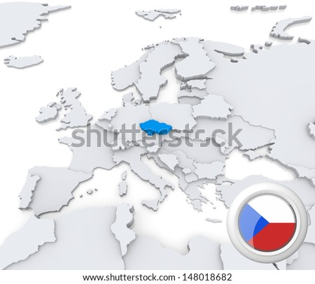Highlighted Czech Republic on map of europe with national flag - stock photo