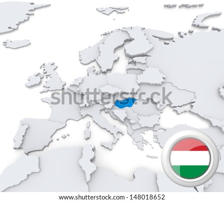 Highlighted Hungary on map of europe with national flag - stock photo