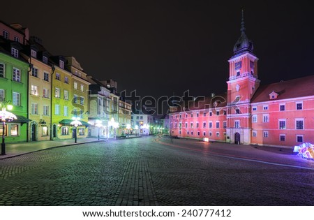 Highlighted in Warsaw Royal Castle and Castle Square at night  - stock photo