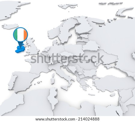 Highlighted ireland on map europe national stock illustration highlighted ireland on map of europe with national flag publicscrutiny Gallery