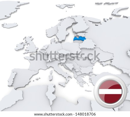 Highlighted Latvia on map of europe with national flag - stock photo