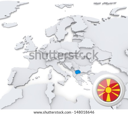 Highlighted Macedonia on map of europe with national flag - stock photo