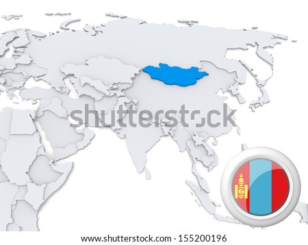 Highlighted Mongolia on map of Asia with national flag - stock photo