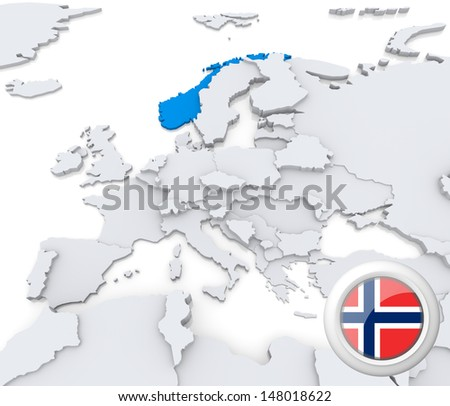 Highlighted Norway on map of europe with national flag - stock photo