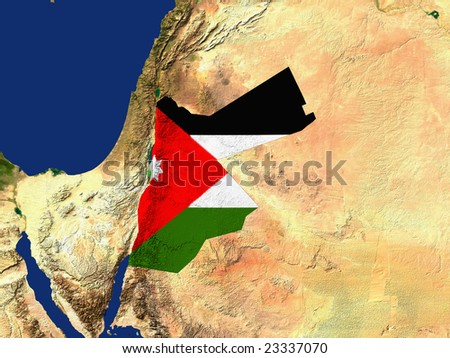 Highlighted Satellite Image Of Jordan With The Countries Flag Covering It - stock photo