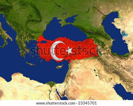 Highlighted Satellite Image Of Turkey With The Countries Flag Covering It - stock photo