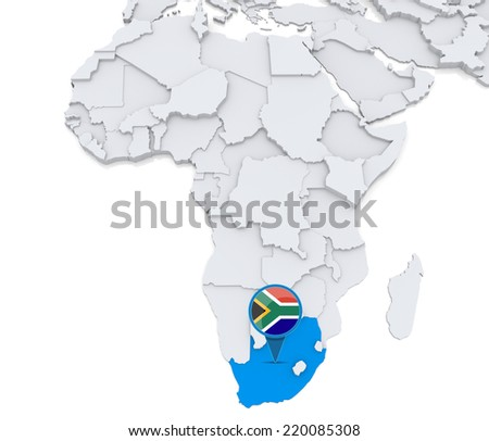 Highlighted south africa on map africa stock illustration 220085308 highlighted south africa on map of africa with national flag gumiabroncs Image collections
