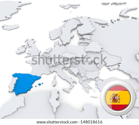 Highlighted Spain on map of europe with national flag - stock photo
