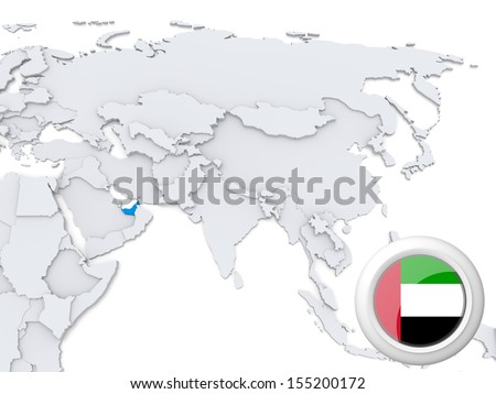 Highlighted United Arab Emirates on map of Asia with national flag - stock photo