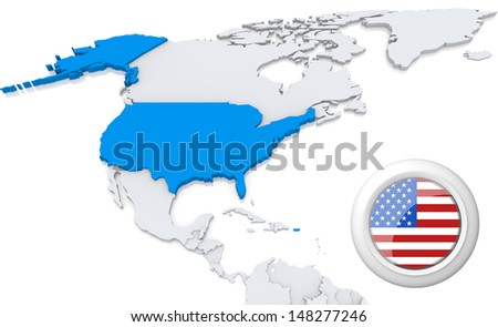 Highlighted USA on map of north america with national flag - stock photo