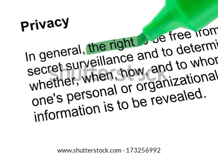 Highlighted word the right for Privacy with green pen over white paper. Isolated white background.