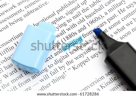 Highlighter and word solution - concept business background - stock photo