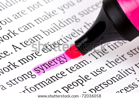Highlighter and word synergy - concept business background - stock photo