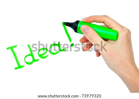 Highlighter in hand and word idea - concept business background - stock photo