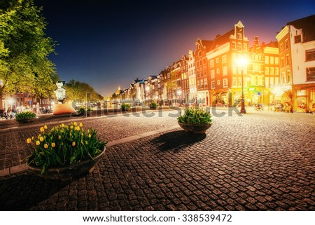 Highlighting buildings and streets Amsterdam, the Netherlands. - stock photo