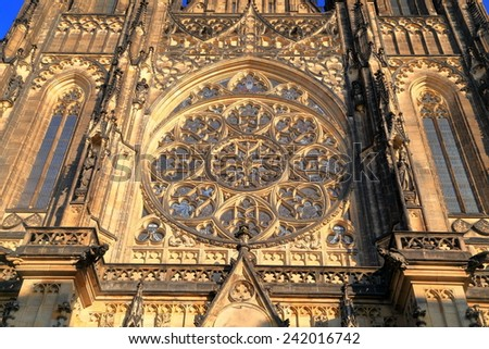 Highly decorated facade of St Vitus Cathedral inside Prague castle, Czech Republic - stock photo