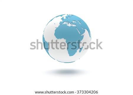 Highly detailed 3D planet Earth globe with blue continents in relief and white oceans, centered in Europe and Africa - stock photo