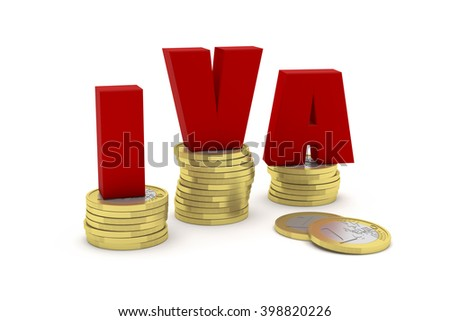 Highly detailed 3D render illustration of three one euro coin stacks with the word IVA (VAT) in Spanish, Italian or Portuguese on them - stock photo