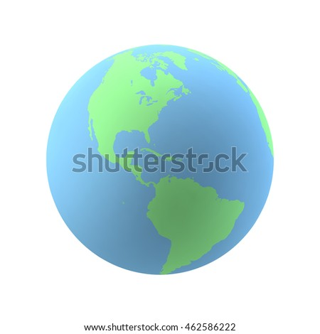 Highly detailed Earth globe With North America and South America