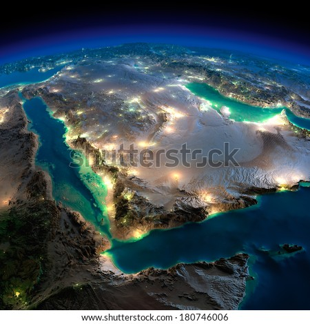Highly detailed Earth, illuminated by moonlight. The glow of cities sheds light on the detailed exaggerated terrain. Night Earth. Saudi Arabia. Elements of this image furnished by NASA - stock photo