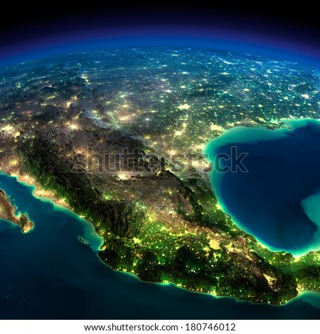Highly detailed Earth, illuminated by moonlight. The glow of cities sheds light on the detailed exaggerated terrain. North America. Mexico. Elements of this image furnished by NASA - stock photo