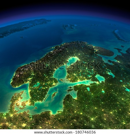 Highly detailed Earth, illuminated by moonlight. The glow of cities sheds light on the detailed exaggerated terrain. Night Earth. Europe. Scandinavia. Elements of this image furnished by NASA - stock photo