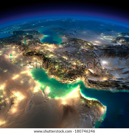 Highly detailed Earth, illuminated by moonlight. The glow of cities sheds light on the detailed exaggerated terrain. Night Earth. Persian Gulf. Elements of this image furnished by NASA - stock photo