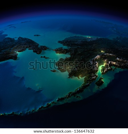 Highly detailed Earth, illuminated by moonlight. The glow of cities sheds light on the exaggerated terrain and translucent water. Alaska and the Bering Strait. Elements of this image furnished by NASA - stock photo