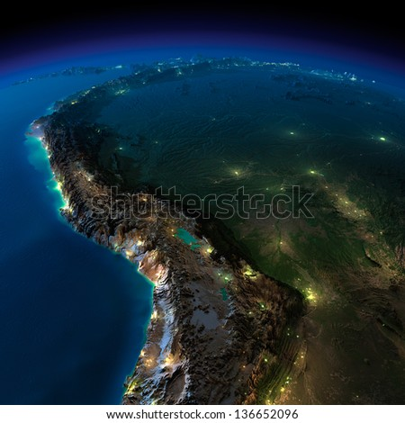 Highly detailed Earth, illuminated by moonlight. The glow of cities sheds light on the exaggerated terrain and translucent water. South America, Bolivia, Peru. Elements of this image furnished by NASA - stock photo