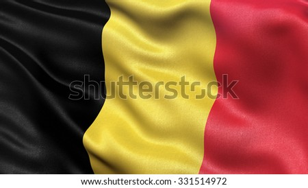 Highly detailed flag of Belgium waving in the wind. - stock photo