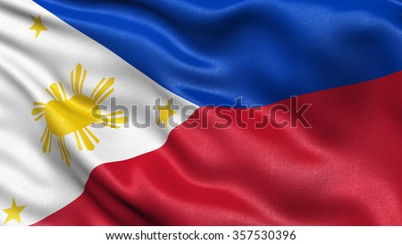 Highly detailed flag of Philippines waving in the wind. - stock photo