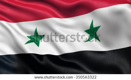 Highly detailed flag of Syria waving in the wind.