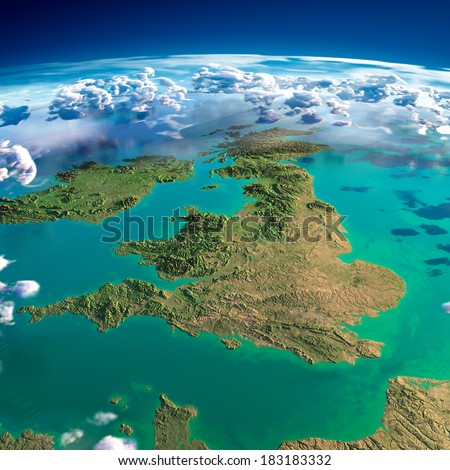 Highly detailed fragments of the planet Earth with exaggerated relief, translucent ocean, illuminated by the morning sun. United Kingdom and Ireland. Elements of this image furnished by NASA - stock photo
