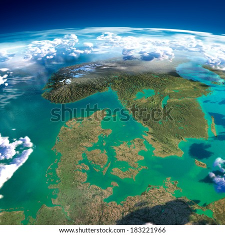 Highly detailed fragments of the planet Earth with exaggerated relief, translucent ocean, illuminated by the morning sun.  Denmark, Sweden and Norway. Elements of this image furnished by NASA - stock photo