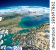 Highly detailed fragments of the planet Earth with exaggerated relief, translucent ocean and clouds, illuminated by the morning sun. Turkey. Sea of Marmara. Elements of this image furnished by NASA - stock photo