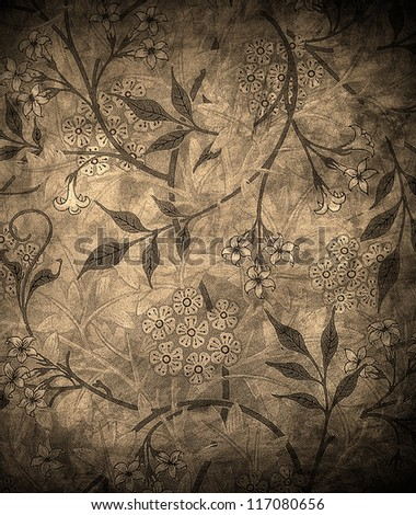 highly detailed grunge floral background - stock photo