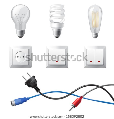 Highly detailed home electricity devices set - stock photo
