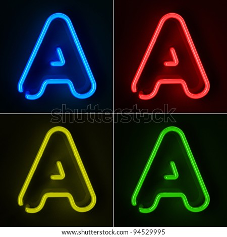 Highly detailed neon sign with the letter A in four colors - stock photo