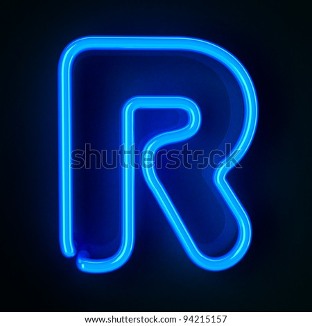 Highly detailed neon sign with the letter R - stock photo