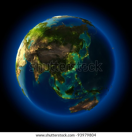 Highly detailed planet Earth at night, lit from behind the evening sun, with embossed continents, illuminated by light of cities, translucent and reflective ocean - stock photo