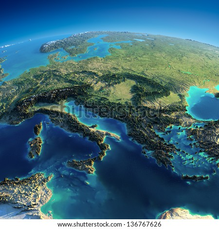 Highly detailed planet Earth. Exaggerated precise relief is illuminated by the rising sun from the east. Part of Europe - Italy, Greece and Mediterranean Sea. Elements of this image furnished by NASA - stock photo