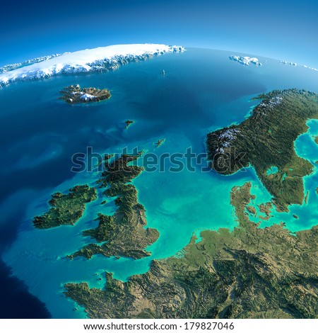 Highly detailed planet Earth in the morning. Exaggerated precise relief lit morning sun. Detailed Earth. United Kingdom and the North Sea. Elements of this image furnished by NASA - stock photo