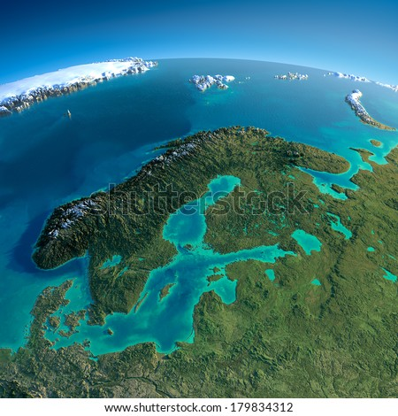 Highly detailed planet Earth in the morning. Exaggerated precise relief lit morning sun. Detailed Earth. Europe. Scandinavia. Elements of this image furnished by NASA - stock photo