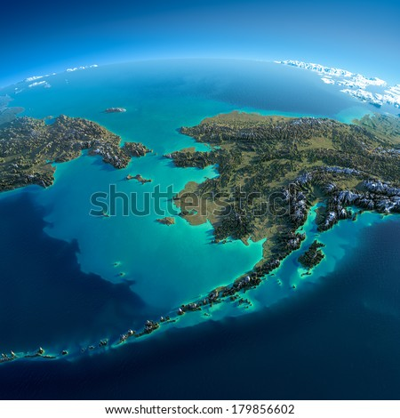 Highly detailed planet Earth in the morning. Exaggerated precise relief lit morning sun. Detailed Earth. Chukotka, Alaska and the Bering Strait. Elements of this image furnished by NASA - stock photo