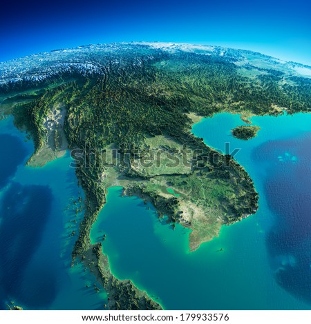 Highly detailed planet Earth in the morning. Exaggerated precise relief lit morning sun. Detailed Earth. Indochina peninsula. Elements of this image furnished by NASA - stock photo