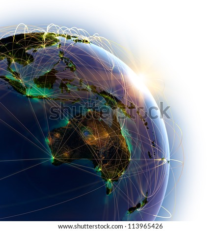 Highly detailed planet Earth, lit by the rising sun. Earth is surrounded by a luminous network, representing the major air routes based on real data. Elements of this image furnished by NASA - stock photo